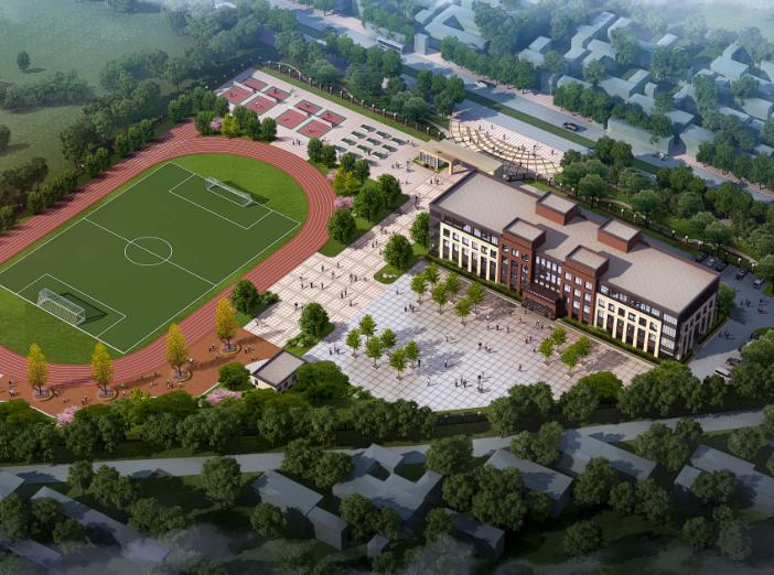 [山东]高密埠口小学建筑方案图CAD+效果图-日景鸟瞰图