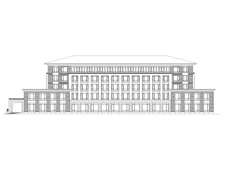 [山东]高密现代中式五层酒店建筑方案图CAD-立面图1