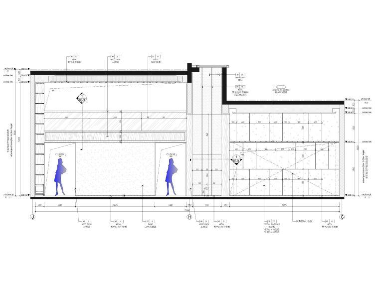 [福建]523㎡四层三居别墅样板房装修施工图-家庭厅,机车工坊立面图