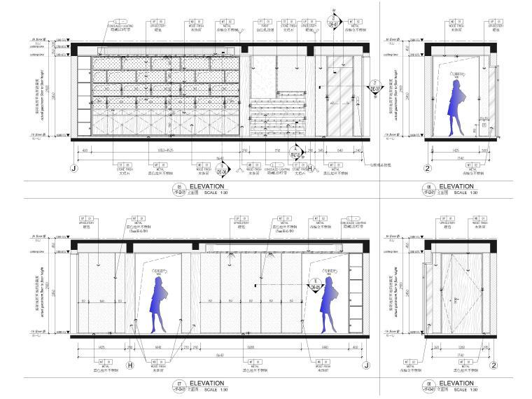 [福建]523㎡四层三居别墅样板房装修施工图-水吧区,电梯厅立面图