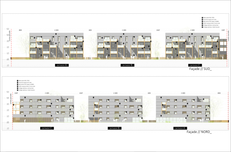 法国南特的45套住房立面图