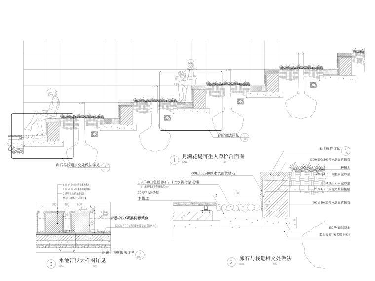 [安徽]某2A级滨水旅游度假区园建施工图-半亭、草阶详图2