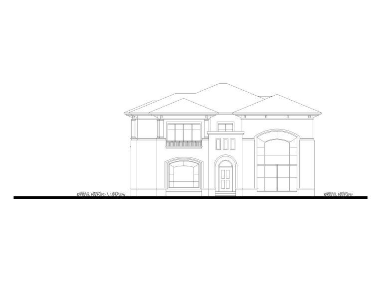 临湖二层独栋别墅建筑方案图CAD-立面图1