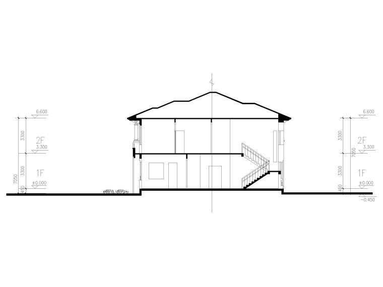 临湖二层独栋别墅建筑方案图CAD-1-1剖面图