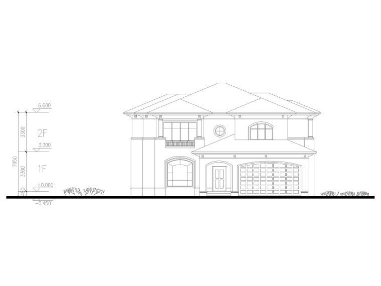 临湖二层独栋别墅建筑方案图CAD-立面图3
