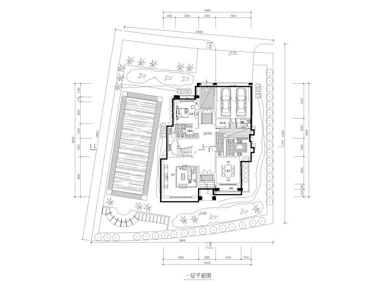临湖二层独栋别墅建筑方案图CAD-一层平面图