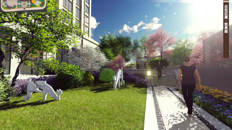 [福建]三明知名地产中式风格居住区景观设计-庭院深化效果图