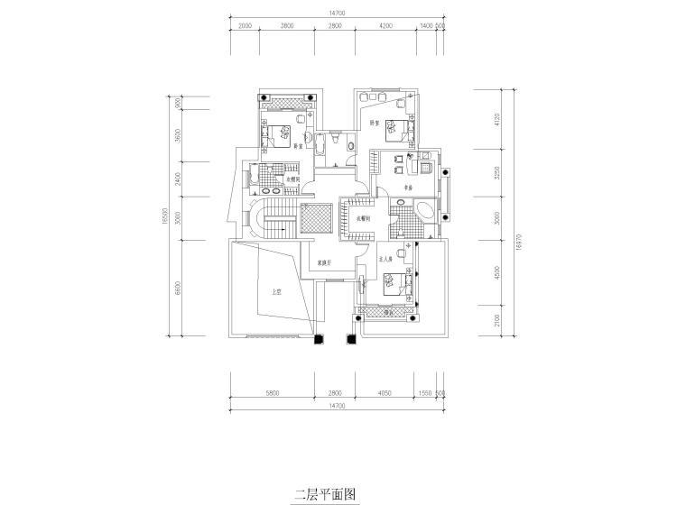 临湖二层独栋别墅建筑方案图CAD-二层平面图