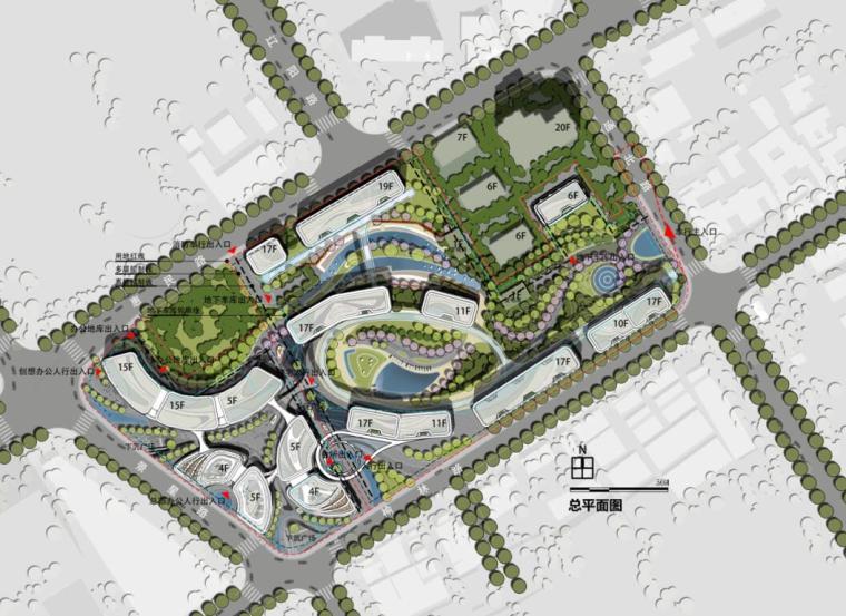 [上海]现代风格豪宅+办公建筑概念规划设计-规划方案