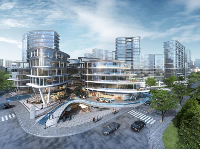 [上海]现代风格豪宅+办公建筑概念规划设计-01鸟瞰图
