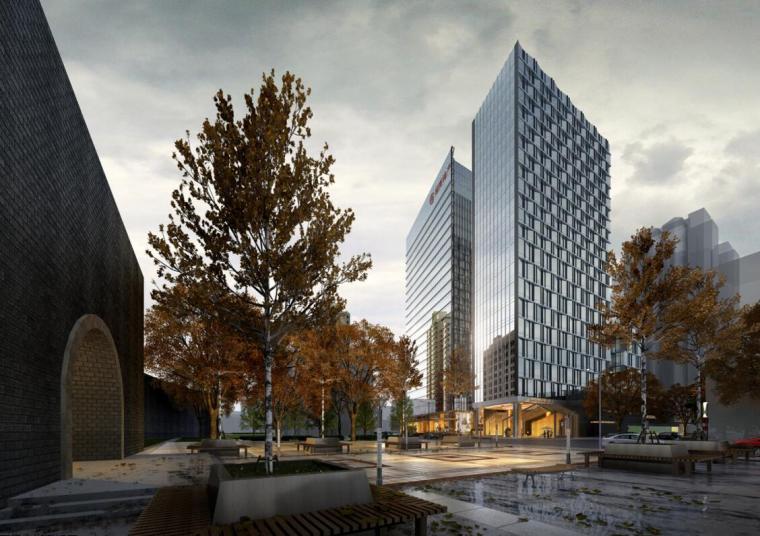 [江苏]现代风格商业办公+公寓建筑方案设计-01 效果图、