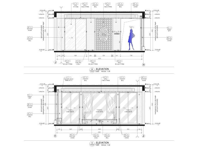 [福建]523㎡四层三居别墅样板房装修施工图-客厅,餐厅立面图