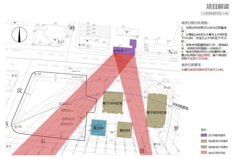 [江苏]现代风格商业办公+公寓建筑方案设计-日照棒影图分析
