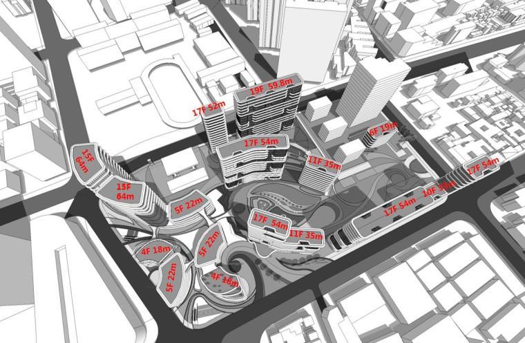 [上海]现代风格豪宅+办公建筑概念规划设计-高度分析