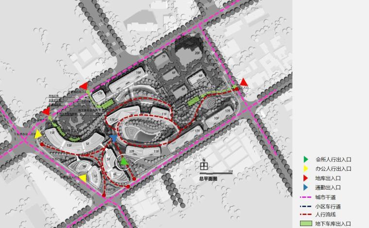 [上海]现代风格豪宅+办公建筑概念规划设计-交通流线分析