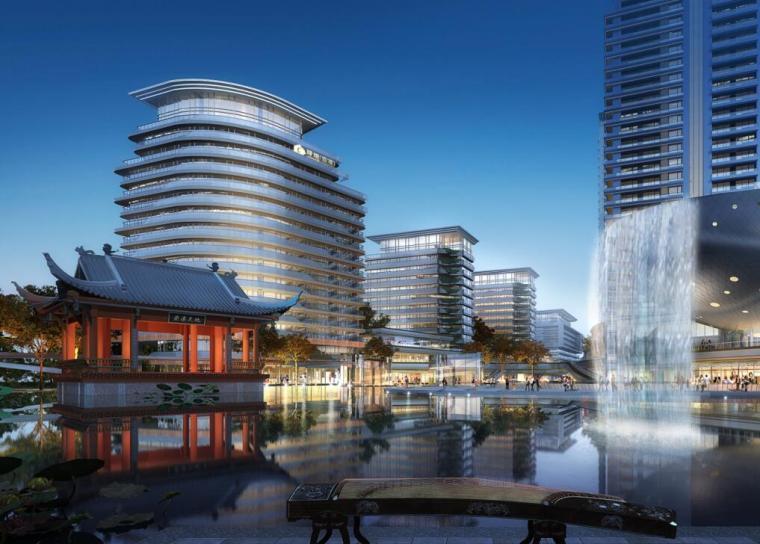 [江苏]一城一岛一带现代风住宅规划方案设计-中央景观广场透视图
