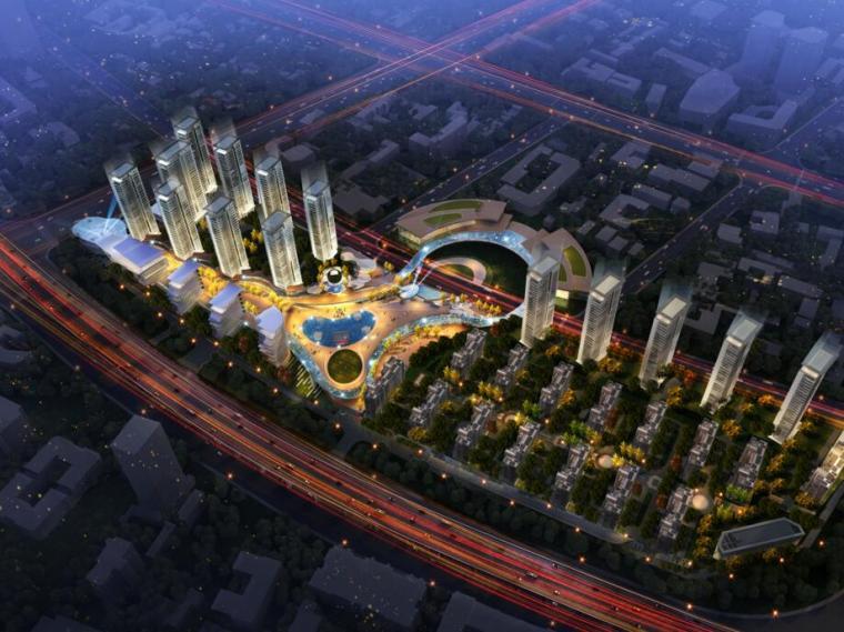 [江苏]一城一岛一带现代风住宅规划方案设计-01 整体鸟瞰图