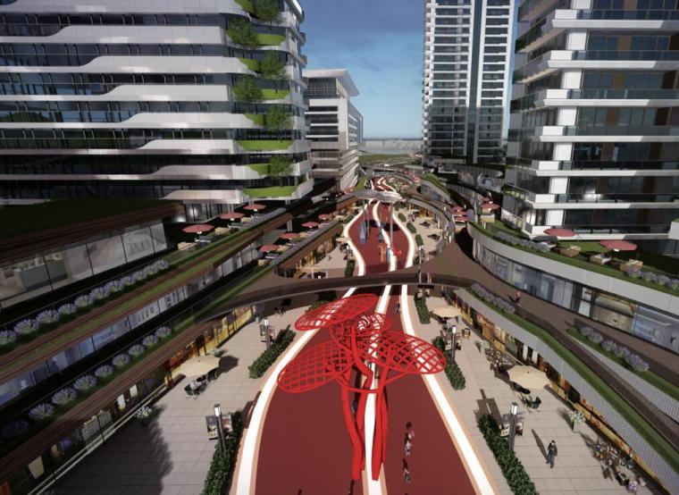 [江苏]一城一岛一带现代风住宅规划方案设计-开放街区透视图