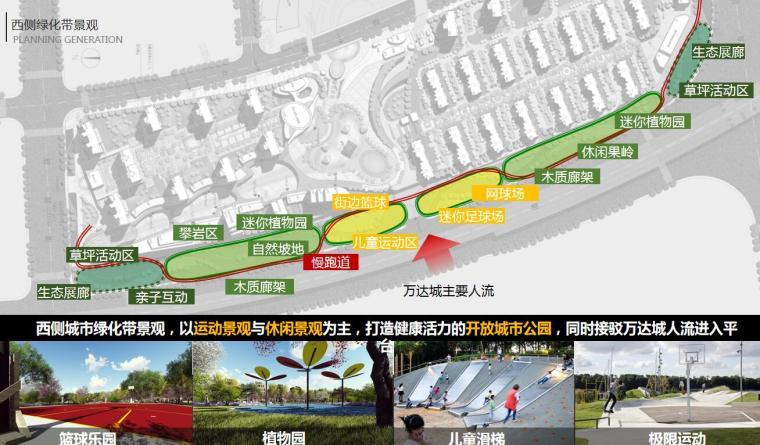 [江苏]一城一岛一带现代风住宅规划方案设计-西侧绿化带景观