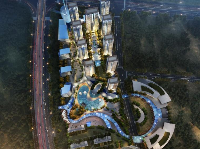 [江苏]一城一岛一带现代风住宅规划方案设计-整体鸟瞰图