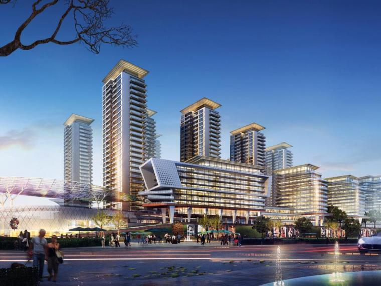 [江苏]一城一岛一带现代风住宅规划方案设计-效果图