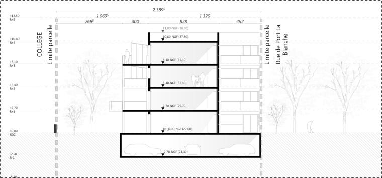法国南特的45套住房剖面图