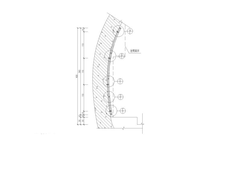 [重庆]单向双洞三车道隧道容貌整治设计图-隧道挂板剖面图