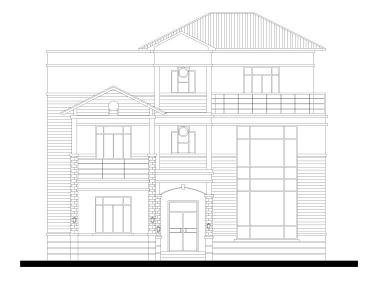 三层砖混结构独栋别墅建筑施工图-立面图1