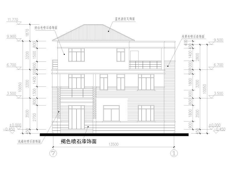 三层砖混结构独栋别墅建筑施工图-立面图2