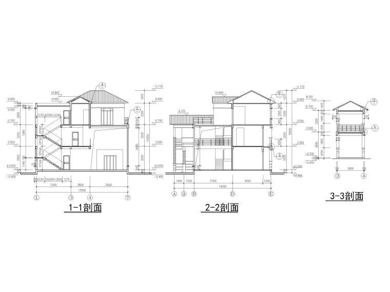三层砖混结构独栋别墅建筑施工图-剖面图