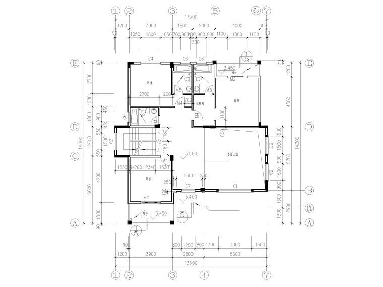三层砖混结构独栋别墅建筑施工图-二层平面图