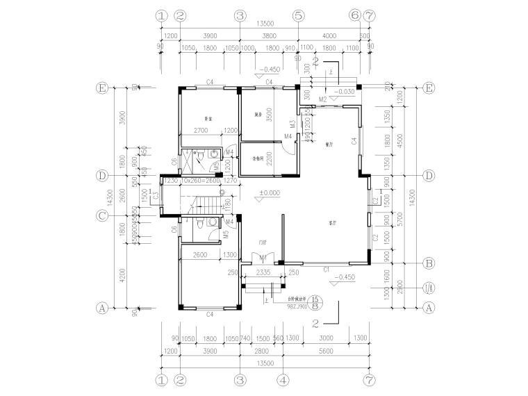 三层砖混结构独栋别墅建筑施工图-一层平面图