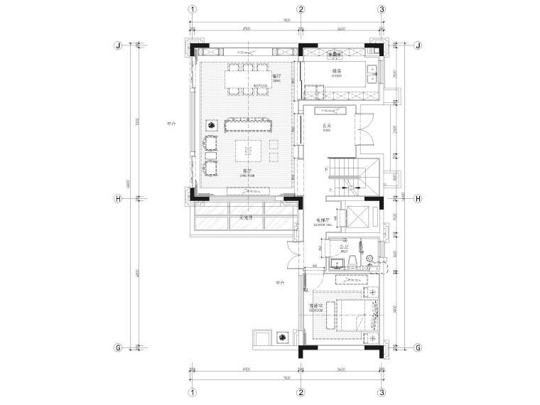 [福建]523㎡四层三居别墅样板房装修施工图-一层平面布置图