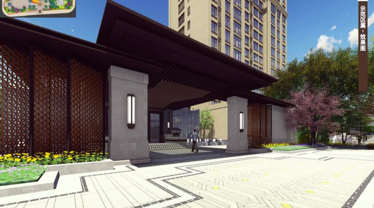 [福建]三明知名地产中式风格居住区景观设计-入口景观效果图