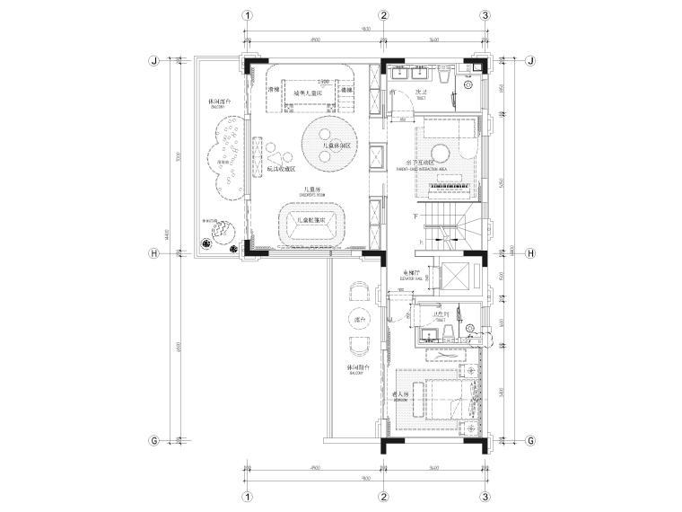 [福建]523㎡四层三居别墅样板房装修施工图-二层平面布置图