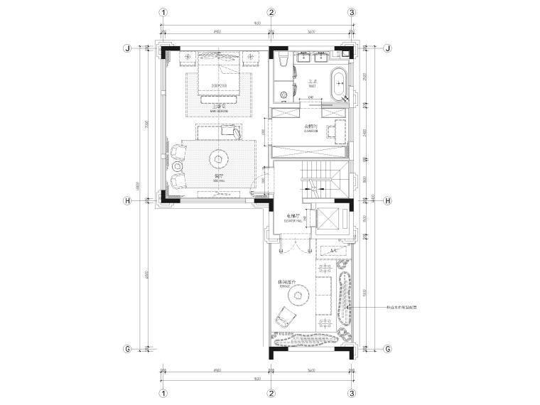 [福建]523㎡四层三居别墅样板房装修施工图-三层平面布置图