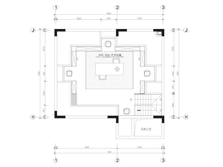 [福建]523㎡四层三居别墅样板房装修施工图-四层平面布置图