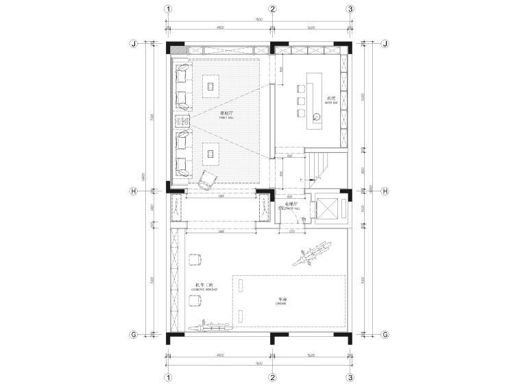 [福建]523㎡四层三居别墅样板房装修施工图-负一层平面布置图