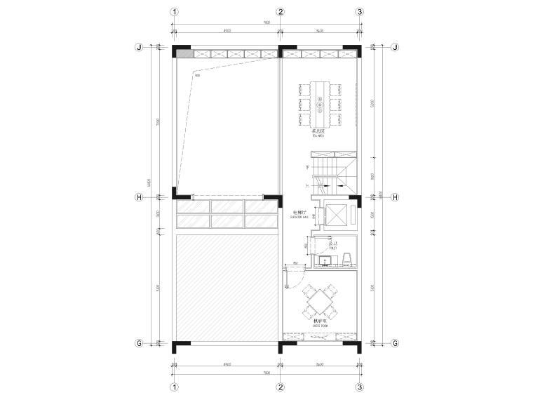 [福建]523㎡四层三居别墅样板房装修施工图-夹层平面布置图