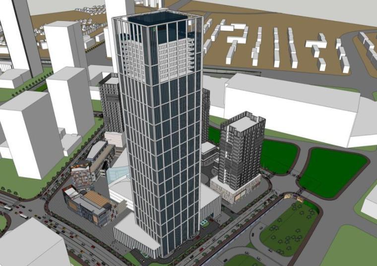 [广东]现代风国际中心商业办公建筑方案设计-01 效果图