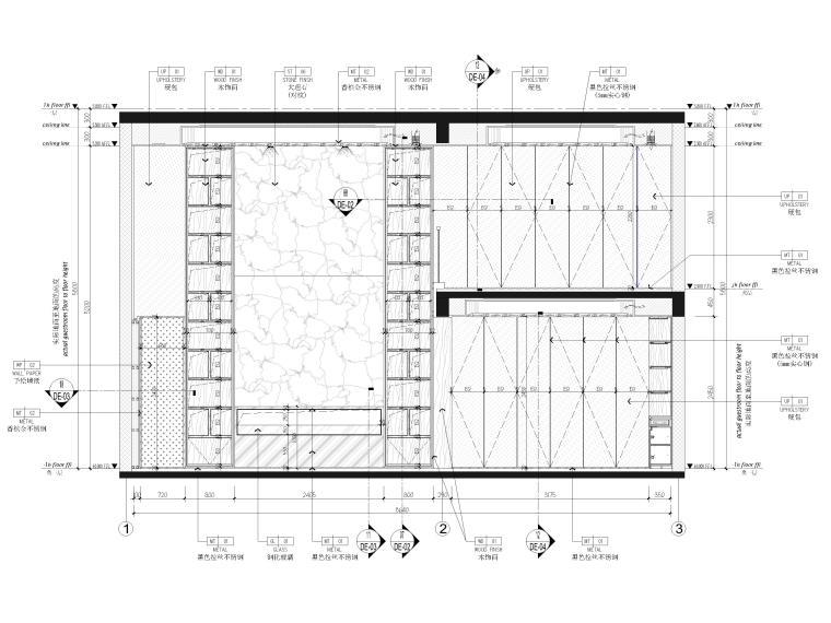 [福建]523㎡四层三居别墅样板房装修施工图-家庭厅,水吧区立面图