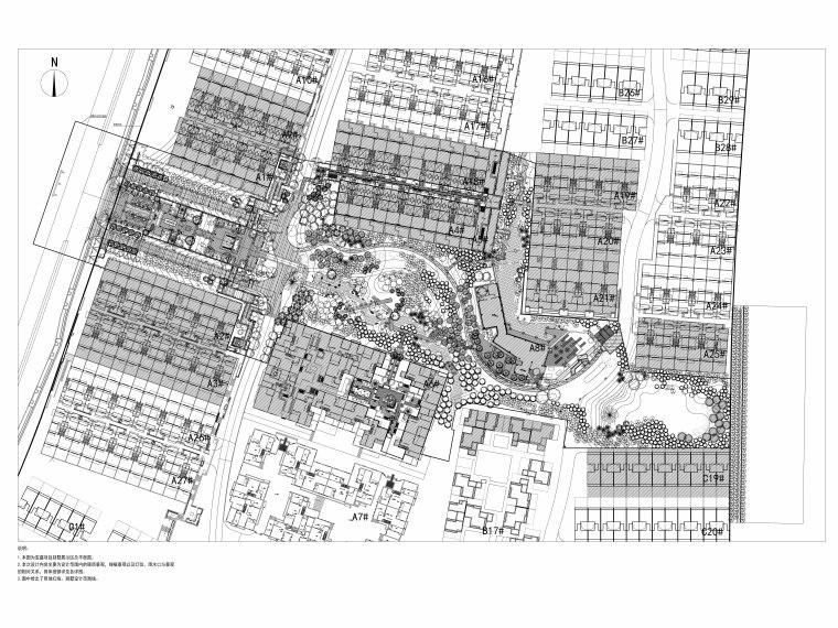 [重庆]高品质低密度住宅区CAD施工图+实景-总平面图