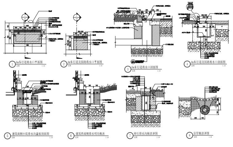 [上海]金茂府现代居住小区园建CAD施工图-道路雨水口做法详图