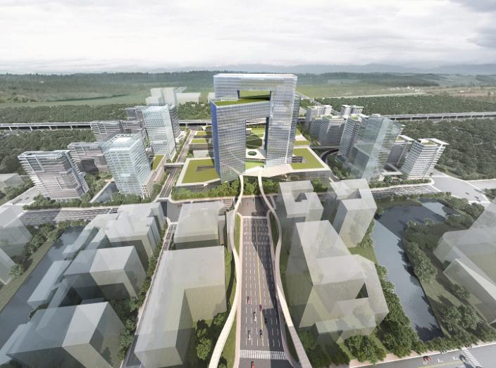 宁波鄞州南部商务区门户区概念规划设计文本-鸟瞰图