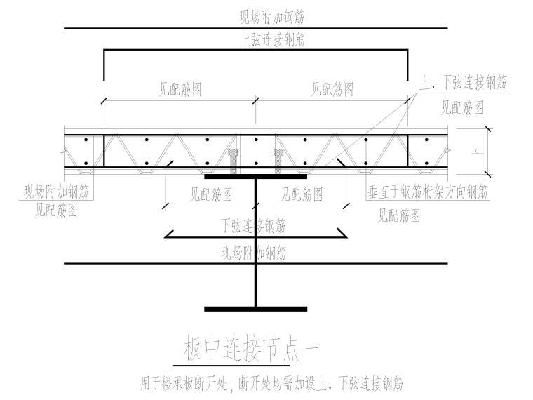 楼承板节点详图2016(CAD)-板中连接节点
