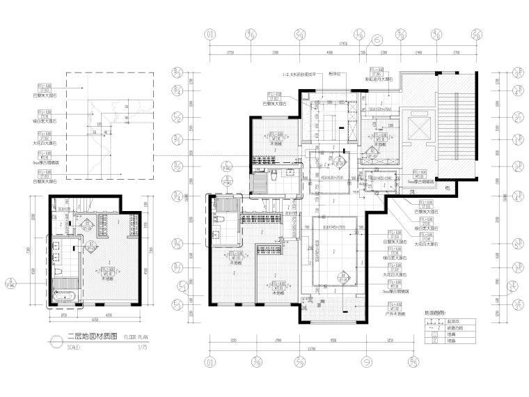 [浙江]滨江180㎡复式四居家装样板间施工图-地面铺装图