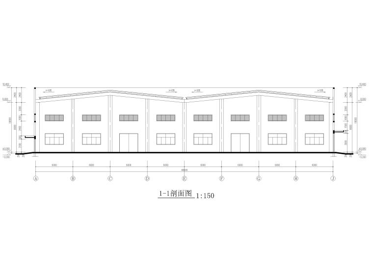 [江苏]单层排架结构丙类工业仓库施工图2017-建筑剖面图