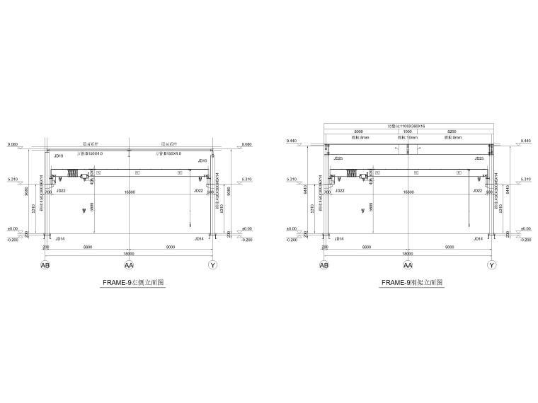 [黑龙江]门式刚架结构麻纱加工车间结施2016-刚架立面图