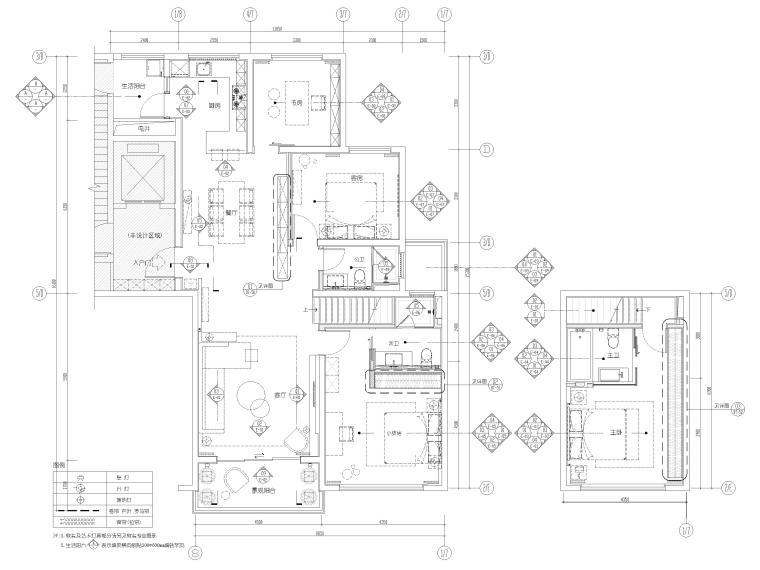 [浙江]滨江167㎡复式三居家装样板间施工图-一、二层平面布置及索引图