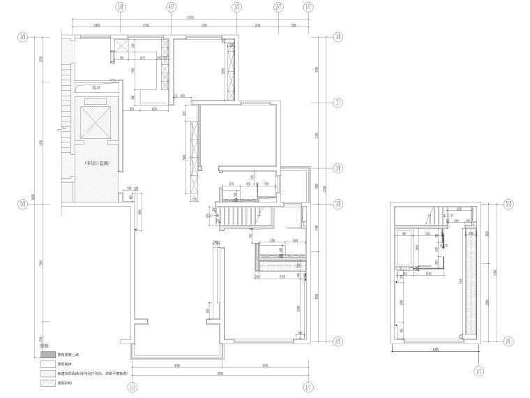 [浙江]滨江167㎡复式三居家装样板间施工图-一、二层平面开线图